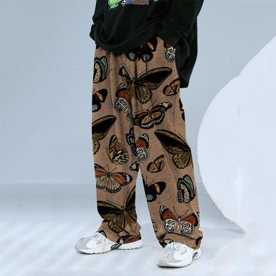 2021 Joymanmall Men pants Khaki Butterfly-Pattern Hip Hop Pants