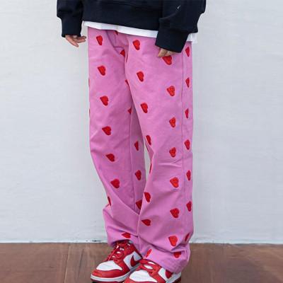 Joymanmall 2021 Autumn Pink HIP HOP Heart-Shaped Pants
