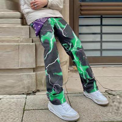 Joymanmall 2021 NEW Green Lightning Strike Pattern Type Hip Hop Pants