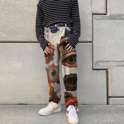 2021 Men Cool Pants Eye Print Hip Hop Pant High Street Pants