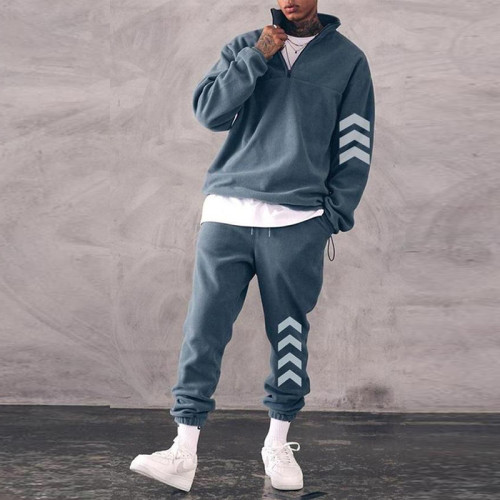 2021 Men's Tracksuit Fashion Solid Color Standing Collar Sweatshirt And Sweatpants Casual Plus Size Jogger Sets for Men Clothing