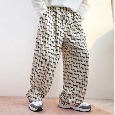 2021 New Hip Hop Men Pant Black and White Print Pant Plus Size Pant