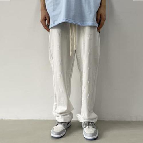 Joymanmall Men's Pants Black/White Letter Print Hip Hop Style Pants