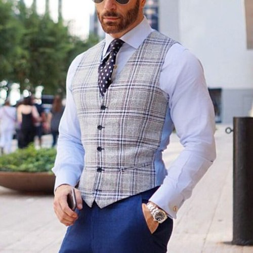 Men Clothing 2021 European and American New Men's Slim-fit Plaid Casual Suit Single-breasted Vest for Men