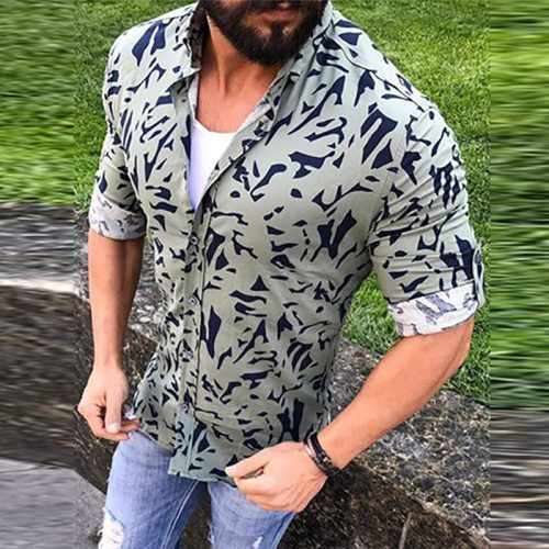 New Casual Printing Men Long Sleeve Shirt 2021 Spring Summer Men Slim Shirts Turn-down Collar Buttoned Shirt Fashion Streetwear