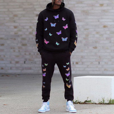 Men Sports Suits Two Piece Set Butterfly Pattern Hoodies and Pants