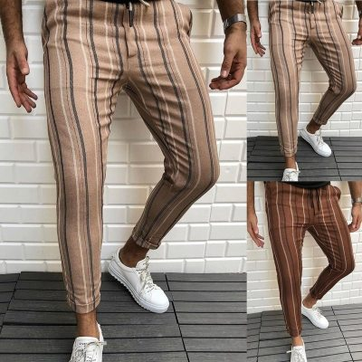 Top Selling Product In 2021 Autumn European American New Men's Striped Printed Casual Pants Mens Clothing