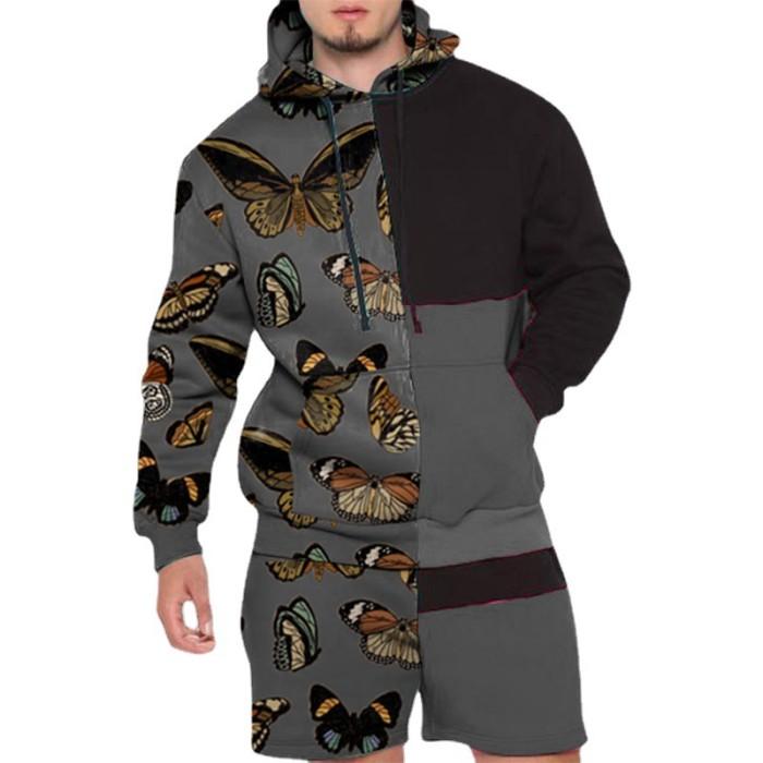 Joymanmall 2021 New Sports Suits Hoodies Shorts Grey Butterfly Pattern