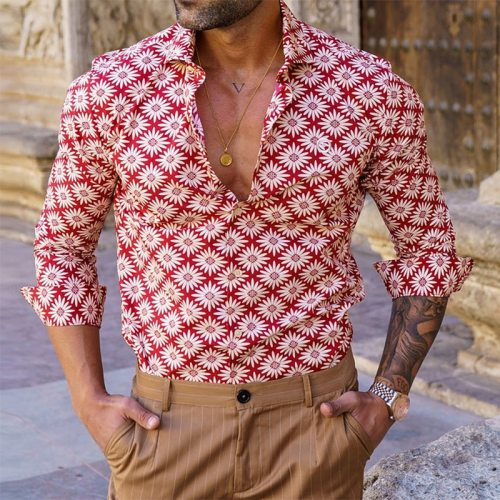 Vintage Floral Printed Slim Shirt Long Sleeve Mens Clothing Casual Streetwear Spring Summer Turn-down Collar Buttoned Shirts Men