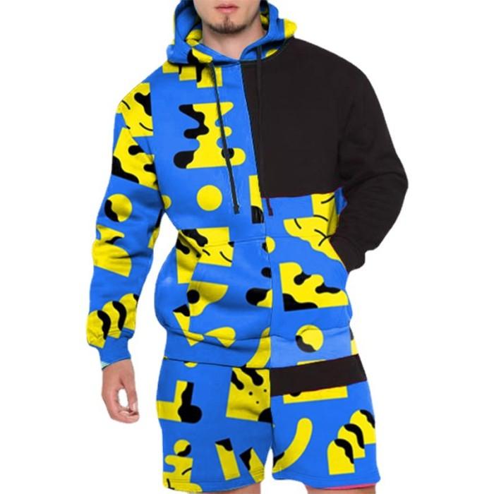 2021 Joymanmall Hot Sale Men Sports Suit Yellow Blue Hoodies and Shorts