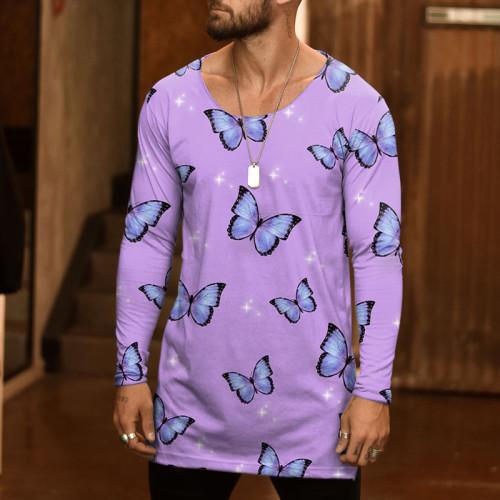 Joymanmall Men T-Shirts Pink Butterfly Pattern Plus SIZE Casual T-shirts