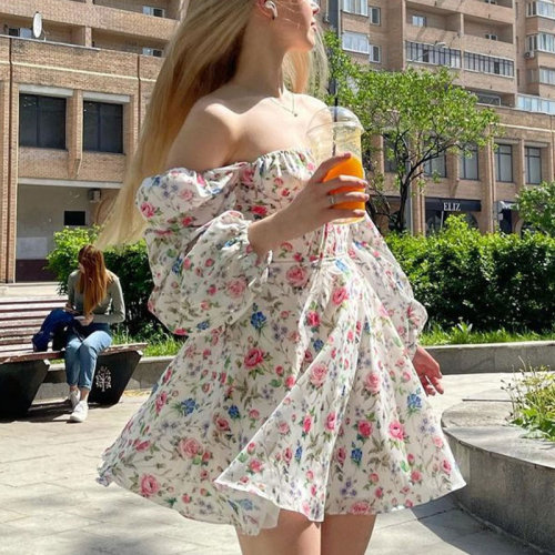Floral Dress Women Lantern Long Sleeve Ruched Print A Line Square Neck Tie Up Mini Vestidos Sexy Chic Summer Beach Ladies Dress