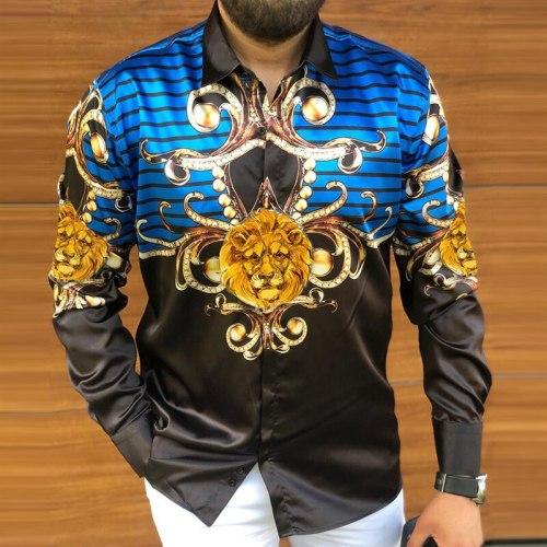2021 Autumn New Vintage Lion Print Long Sleeve Slim Shirts For Men Fashion Buttoned Tops Mens Turn-down Collar Shirt Streetwear
