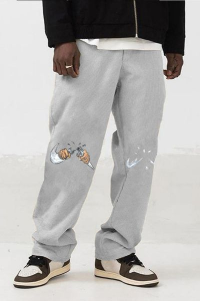 Men's 2021 Summer New Products Fashion Trend Simple Fun Printed Cotton Straight Pants Loose Casual Pants S-3XL