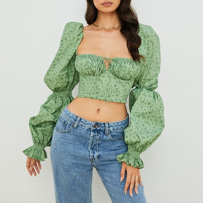 Autumn Square Collar Bandage Y2K Blouse Women Low Cut Long Puff Sleeve Short Blouse Casual Green Floral Print Female Tops 2021