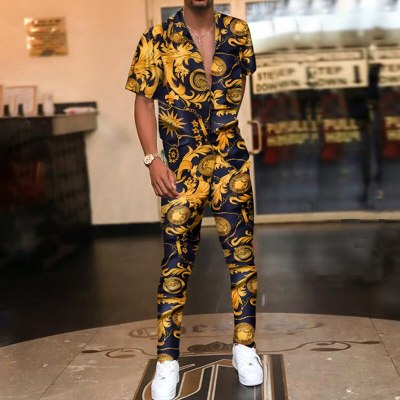 Vintage Printed Mens Summer Two Piece Sets Fashion Casual Short Sleeve Shirts And Long Pants Outfits Men 2021 Hipster Streetwear