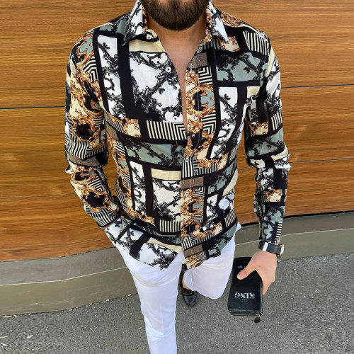 2021 Joymanmall New Men's Shirts Mixed Print Pattern Shirts