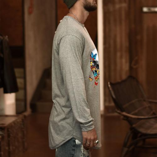 Joymanmall Men T-Shirts Grey Skull Pattern Plus SIZE Casual T-shirts