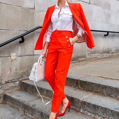 2021 New Women's Suits Pant + Coat Pure Color Office Lady Two Pieces Set
