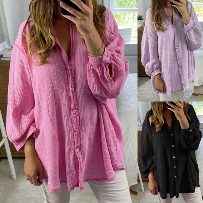 Women Cotton Linen Casual Solid Tops Casual Button Shirts Ladies Turn Down Collar Loose Top
