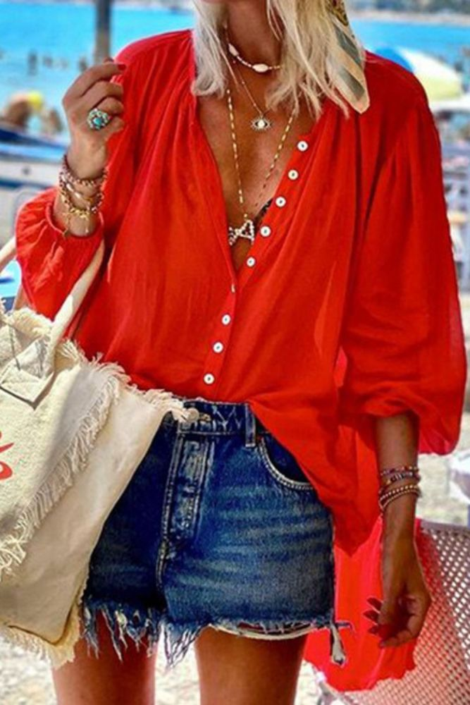 2021 New Women's Pure Color Shirts Chic Casual Shirts