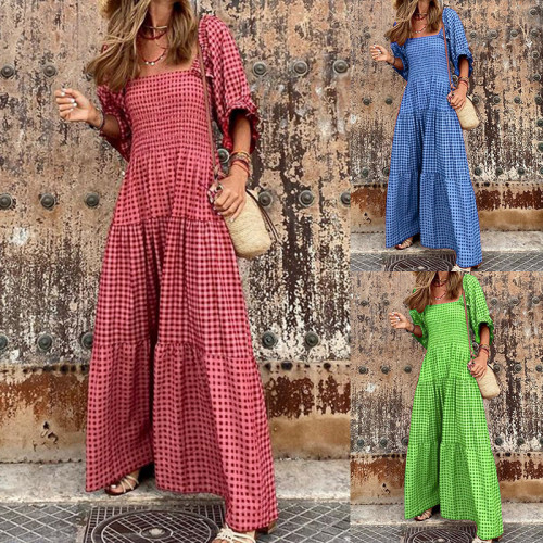 Summer Maxi Dress Women Elegant Puff Sleeve Casual Patchwork Loose Holiday Party Long Vestidos