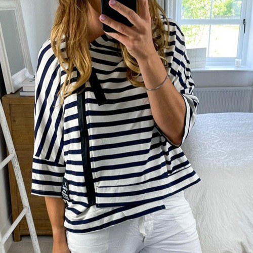 2021 Hot sale Women's Stripped T-shirts Casual Tops