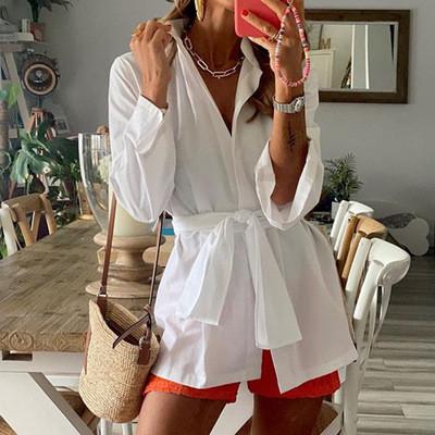 Office Lady Women Female Ladies Long Sleeve Deep V Shirt