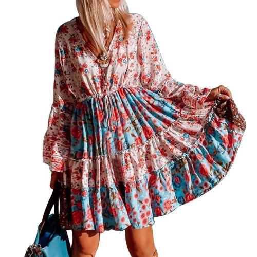 2021 autumn new printed long-sleeved V-neck bohemian beach resort women's dress