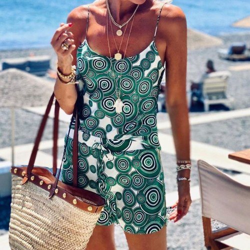 Beach Sexy Women Two Piece Set Sleeveless Printed Club Outfits Female Crop Tops And Mini Skirts Vacation Bodycon Sets Summer
