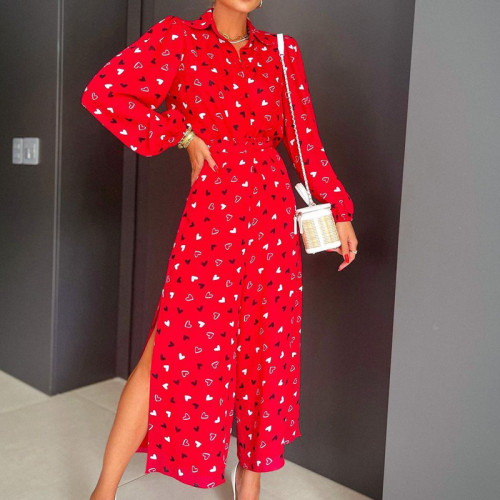 Print Jumpsuit Women Long Sleeve Turn-down Collar High Waist Wide Leg Rompers Side Split Elegant Jumpsuit Ladies Office Overalls