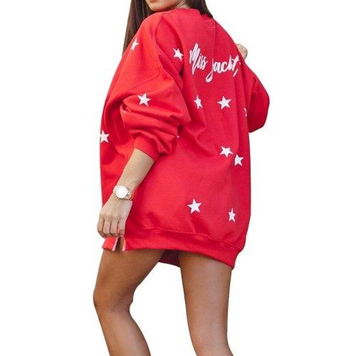 Women O Neck Star Print Streetwear Casual Loose Top Fleece Hoody