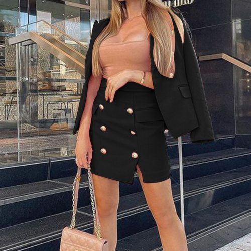 2 Piece Set Women 2021summer New Fashion Solid Color Long-Sleeved Blazer Femme+Stretch Skirt Women Sets Office Matching Sets