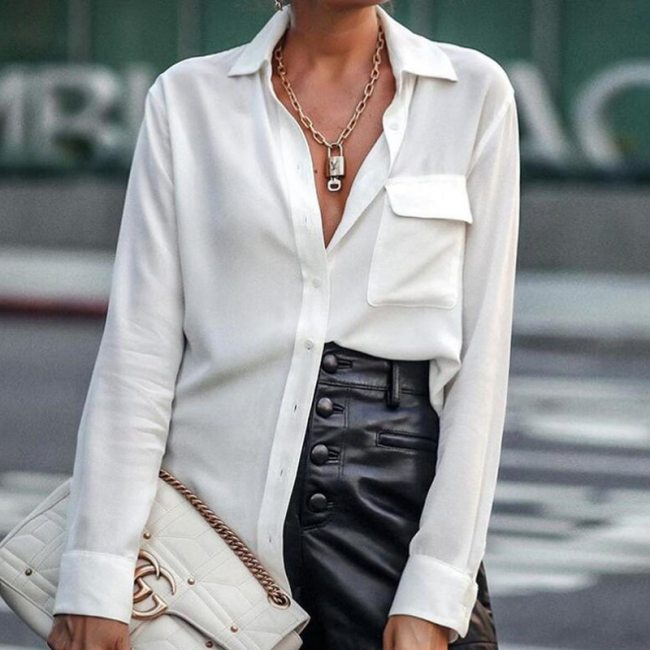 Elegant Solid Turn Down Collar Shirts Top Spring Long Sleeves Button Pocket Blouses Autumn Office Ladies Casual Women Tops