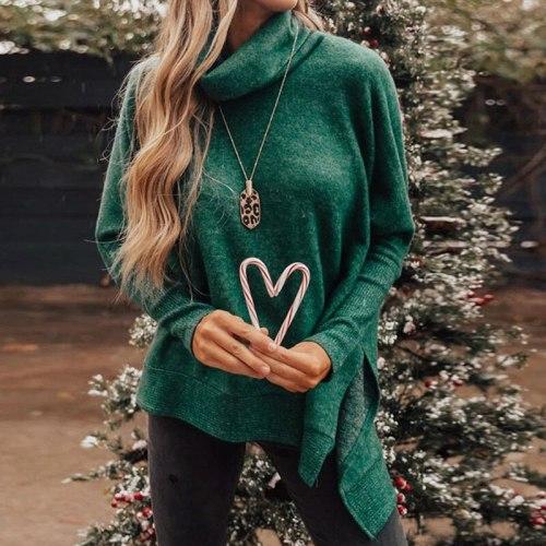 Women Turtleneck Hoodies Long Sleeve Loose Solid  Stylish Asymmetrical Sweatshirts Female Causal oversized Streetwear Top