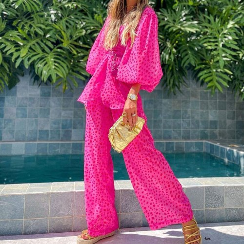 Printed wide leg pants women's two pieces suits v-neck high waist women loose set 2021 autumn office lady two-piece casual sets
