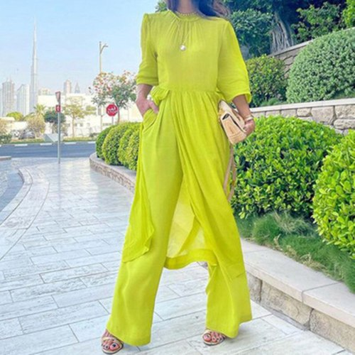 Autumn 2021 Women's Long Sleeve Fashion Loose Cotton And Linen Holiday Solid Color Top And Wide Leg Pants 2 Two Piece Set