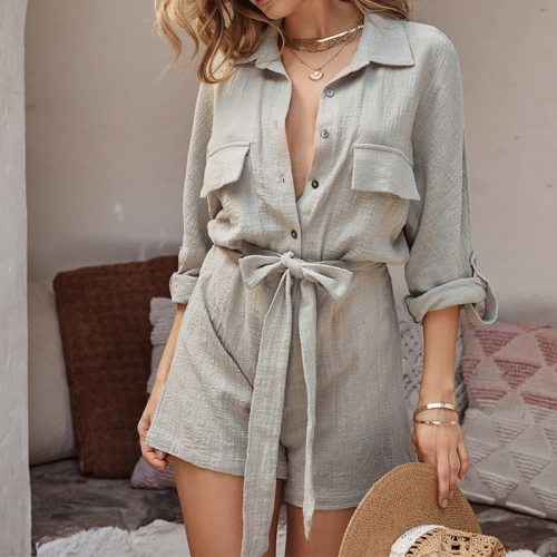 Summer Cotton Linen Women's Playsuit With Belt Adjustable Sleeve Loose Female Playsuits 2021 Elegant Fashion Solid Ladies Romper
