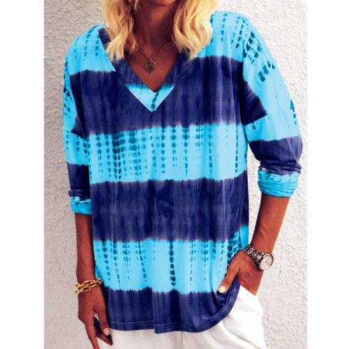 2021 Autumn Spring Women Shirt Tees Strip Colors Ruffles Long Sleeve Sexy Elegant Tops Plus Sizes Casual T Shirts
