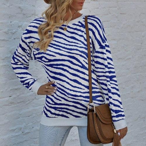 2021 Autumn Women New Hot Sale O-Neck Tops Casual Loose Splice Tie-Dye Zebra Printing Long Sleeve T-Shirts Ladies Cotton Tees