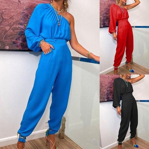 Solid Two Piece Sets Women Suit 2021 New One Shoulder Sleeve Irregular Top Casual Pants Suit Women's Casual Commuter Suit