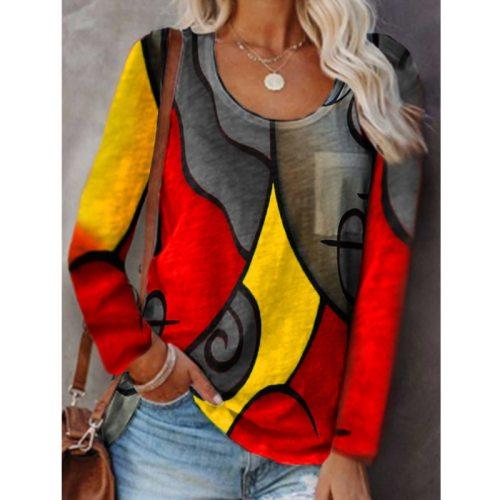 Women Autumn Casual Print Patchwork Plus Size Long Sleeve T Shirt O Neck Vintage Loose Fashion Oversize Streewear 2021 Shirt Top