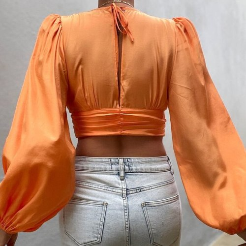 2021 New Deep V Neck Vintage Women Tops And Blouse Summer Lantern Long Sleeve Short Shirts