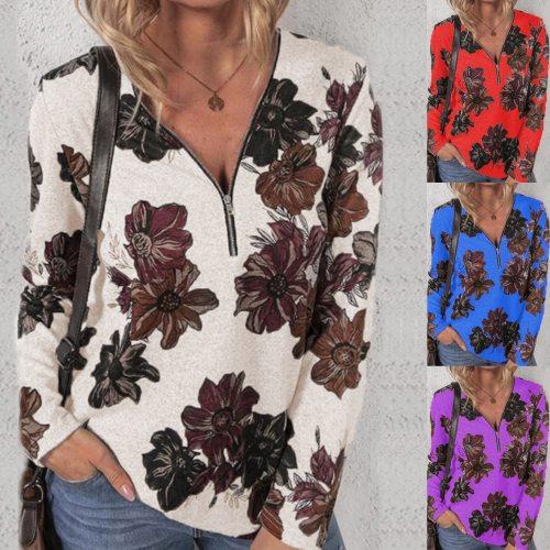 Plus Size Women Fashion Loose Casual long sleeve Floral print V neck zipper Autumn tshirt tops blouses
