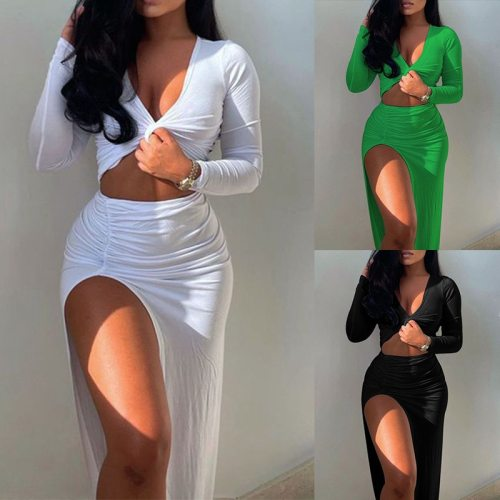 Women Fashion Suits Fall Spring Solid Ladies Long Sleeve Twist V Neck Crop Tops+Split Irregualr Skirts Sexy Bodycon 2PCS Outfits