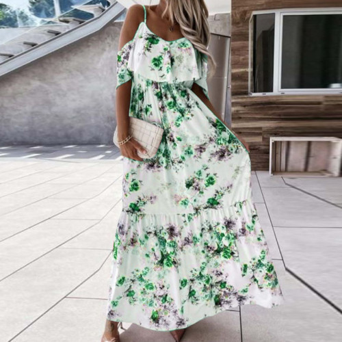 Summer Elegant Off Shoulder Print Long Dress Sexy Sling Slim Elastic Waist Party Dress Women Chic Floral Short Sleeve Maxi Dress