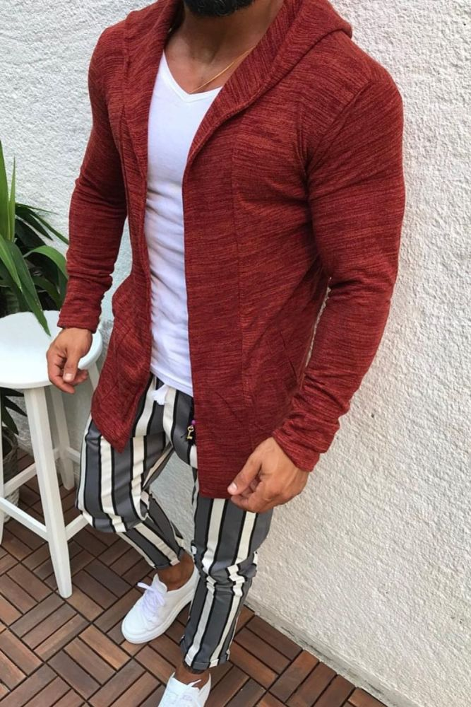 Men's Cardigan Sweater Thin Casual Autumn And Winter Long Fashion Sweater Coat With Hood
