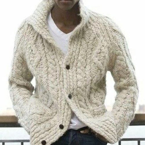 Fashion Plus Size Sweater Men Autumn Winter Cardigan Single Breasted Sweater Men's Long Sleeve Casual Lapel Loose Sweaters Brand