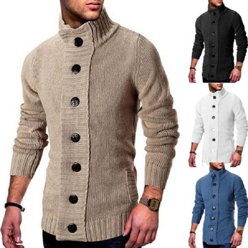 Men's Turtleneck Knitted Sweaters 2021Casual Slim Solid Cardigan Men Sweater Full Sleeve Single-Breasted Oversized Men's Jumpers