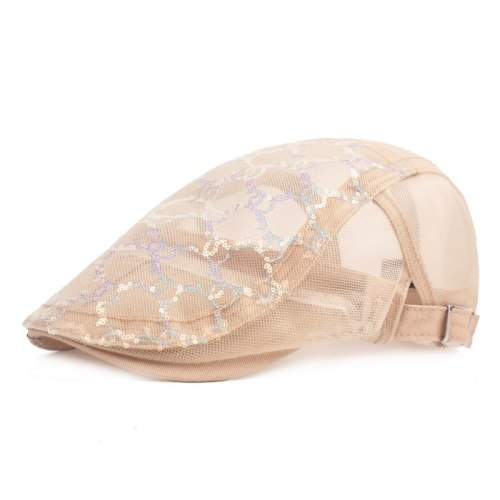Women's Summer Flat Cap Mesh Hat Cool And Breathable Sunshade Hat Adjustable Sequin Snowflake Beret
